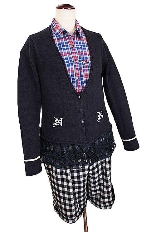 美品格安◆ROPE picnic■可愛い裾レース綿ニットカーディガン・セーター・38