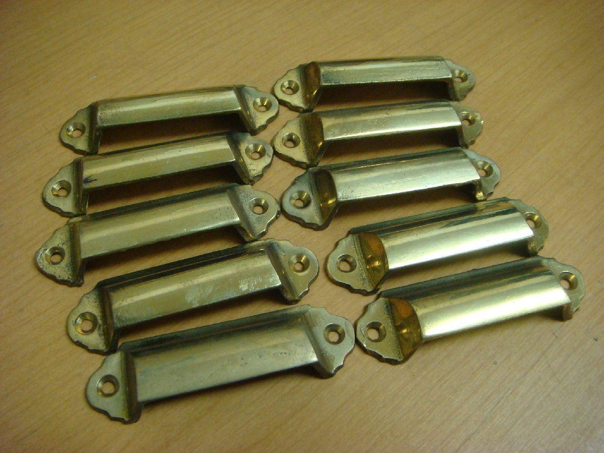 MB/B03ACQ-PEV 未使用長期保管品 10個SET 真鍮製 甲丸面引手 75mm 建具 アンティーク 昭和 レトロ_画像1
