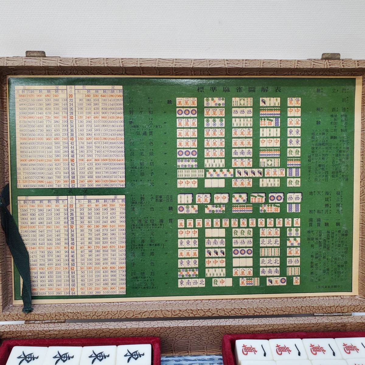 【1636】希少レトロ品!麻雀牌 背竹牌 点棒 サイコロ 箱付 マージャン コレクター必見!_画像2