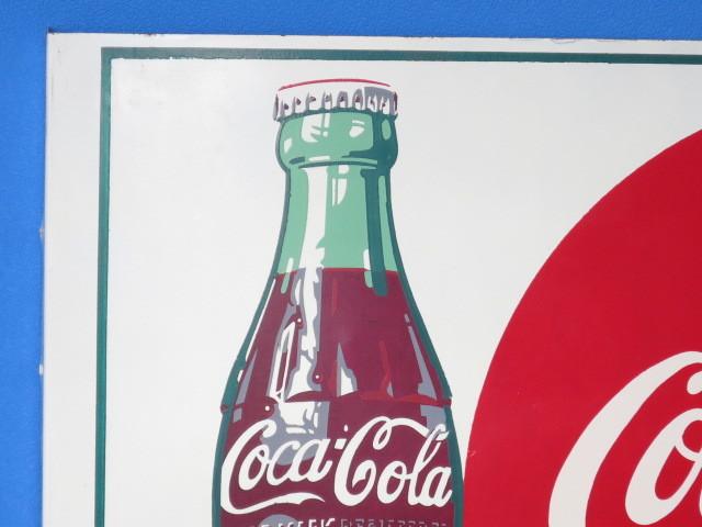 #9-5【日本Coca・Cola】コカ・コーラ看板*当時もの・裏表のタイプ*中古品_画像3