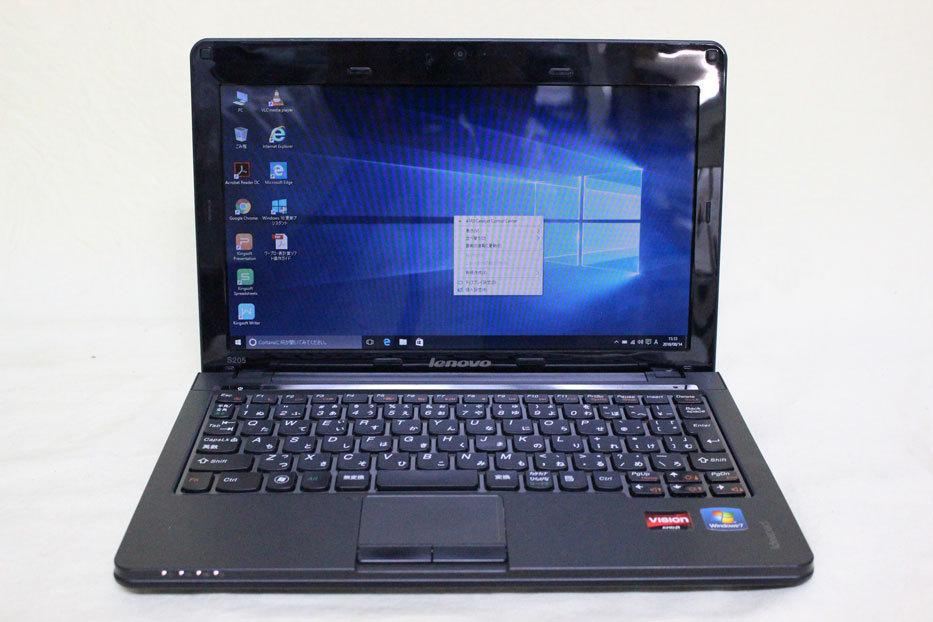 中古 11.6 型 Lenovo Ideapad S205 AMD E350 @ 1.60 GHz 320GB メモリ 4GB Windows 10 訳あり_画像1