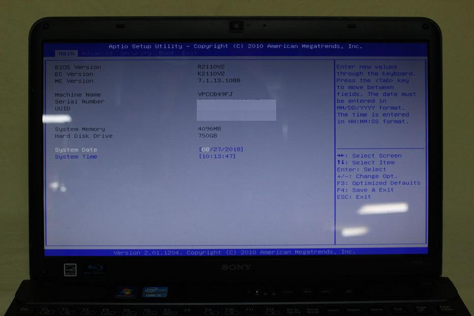 中古 15.5 型 SONY VAIO VPCCB49FJ Intel Core i5-2450M @ 2.50 GHz HDD 750GB メモリ 4GB Windows 10 Home 訳あり_画像2