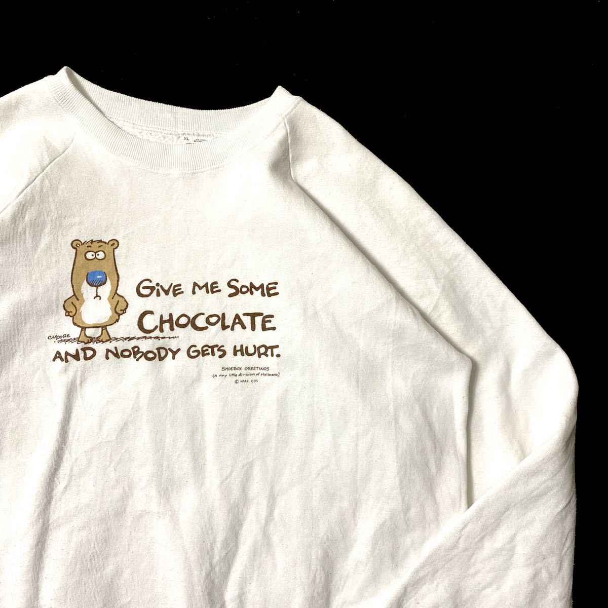 90s fruit of the room white printed sweatshirts / made in usa / size XL 90年代 フルーツ スウェット アメリカ製 アメカジ カジュアル
