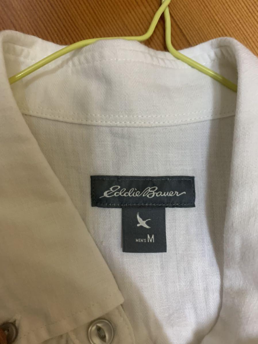 エディーバウアー メンズ 半袖 シャツ 白 ボーダー Eddie Bauer ボタンダウン 半袖シャツ