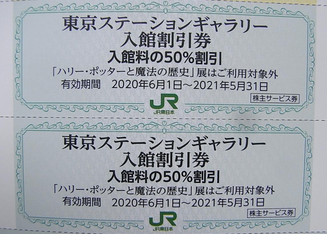 ★JR東日本 株主優待券 東京ステーションギャラリー入館割引券(50%割引)×2枚 期限 2021年5月31日 まで_画像1