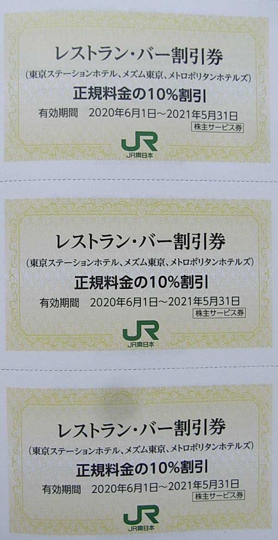 ★JR東日本 株主優待券 レストラン・バー 10%割引券 ×3枚 東京ステーションホテル メトロポリタンホテルズ 他 期限 2021年5月31日 まで_画像1