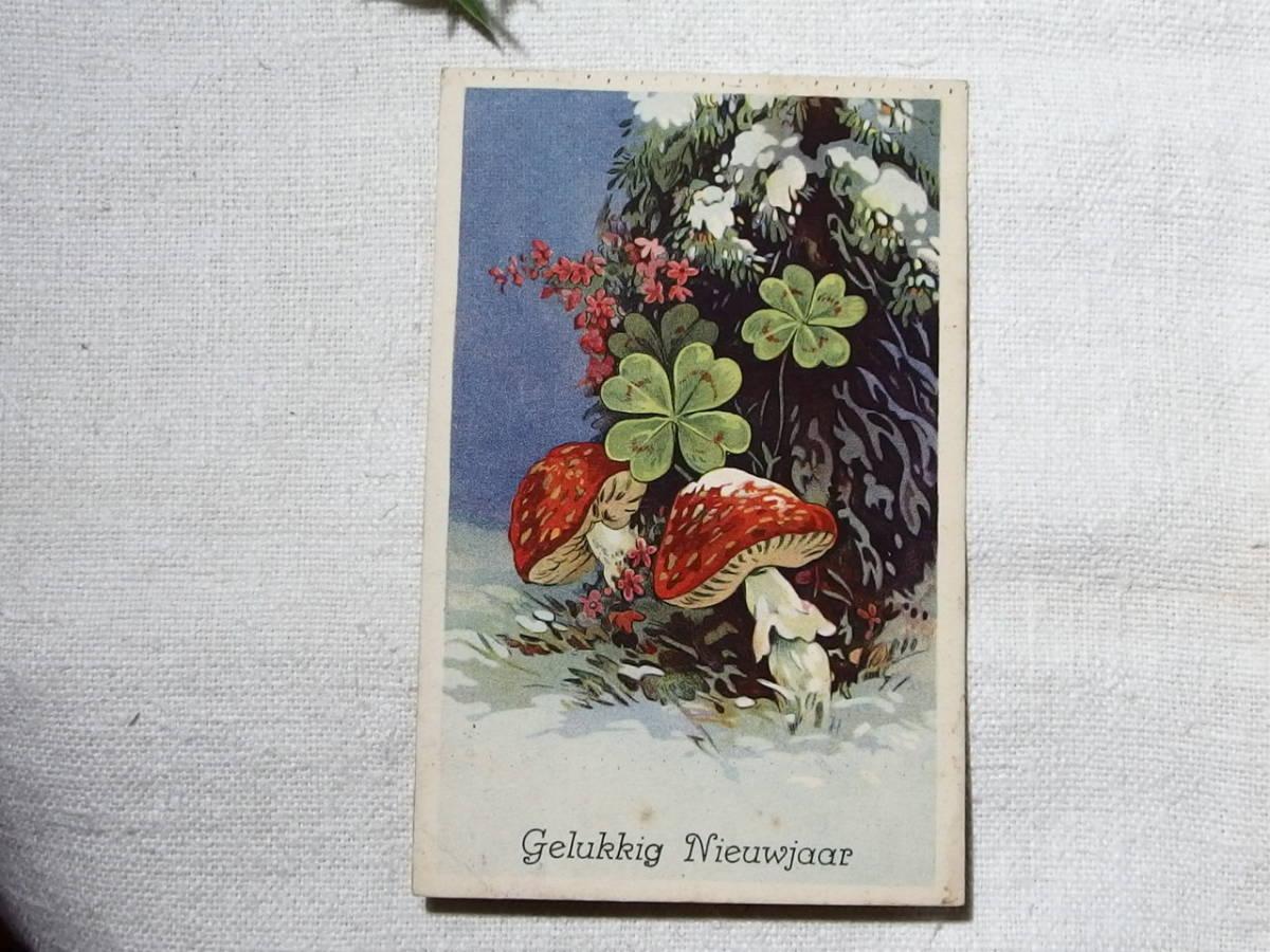 フランスアンティーク ポストカード 絵葉書 キノコと四葉のクローバー ドイツ オランダ ヨーロッパ_画像2