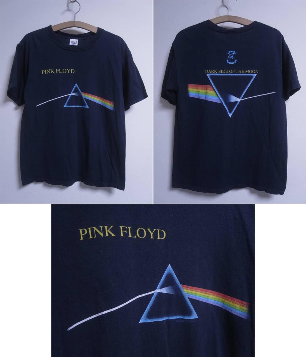 V6/3170★バンドT★ピンクフロイド PINK FLOYD 黒 半袖 Tシャツ DARK SIDE OF THE MOON #狂気 #両面プリント☆M_画像1