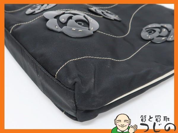 プラダ B11256 ミニ トートバッグ TESSUTO バラ フラワーモチーフ 黒 ナイロン×レザー カード付 美品 質屋 つじの_画像5