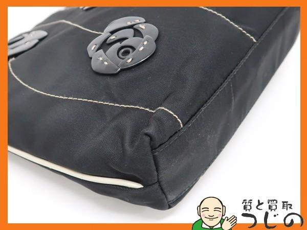 プラダ B11256 ミニ トートバッグ TESSUTO バラ フラワーモチーフ 黒 ナイロン×レザー カード付 美品 質屋 つじの_画像4