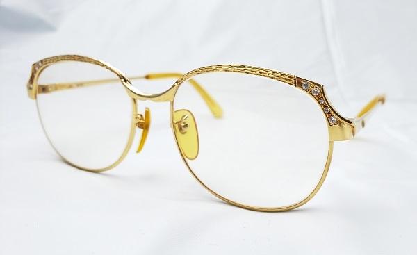 K18 ダイヤモンド10石 メガネフレーム 眼鏡 フルリム 金無垢 18金製 ゴールド ダイヤ0.22ct 全体重量38.6g