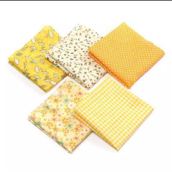 送料無料 ハンドメイド 黄色 イエロー 生地 5枚セット 50×50 綿 はぎれ ハギレ お買い得 パッチワーク 裁縫 5種類