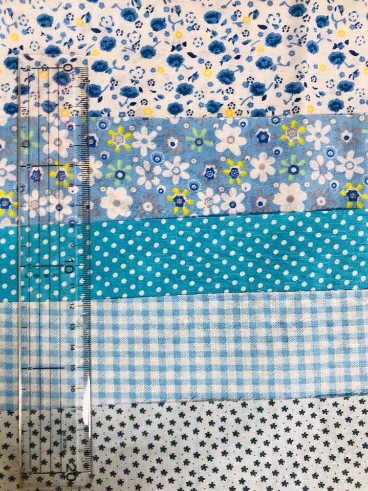 送料無料 ハンドメイド 水色 生地 5枚セット 50×50 綿 はぎれ ハギレ お買い得 パッチワーク 裁縫 5種類