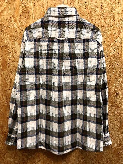 Eddie Bauer エディーバウアー S メンズ カジュアルシャツ 裏地付き(2重生地) チェック柄 胸ポケット 長袖 綿100% 白×茶緑×オレンジ×紺_画像5