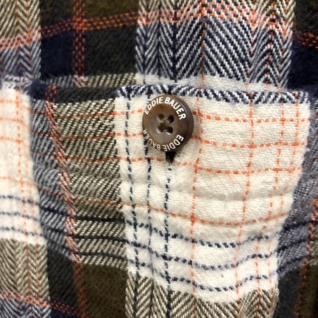 Eddie Bauer エディーバウアー S メンズ カジュアルシャツ 裏地付き(2重生地) チェック柄 胸ポケット 長袖 綿100% 白×茶緑×オレンジ×紺_画像3