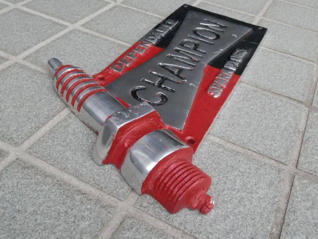 チャンピオン ガレージサイン アルミ製  BMC MINI COOPER MK-1 MK-2CHAMPION ローバーミニクーパー_画像2