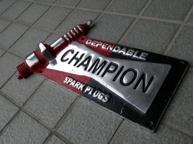 チャンピオン ガレージサイン アルミ製  BMC MINI COOPER MK-1 MK-2CHAMPION ローバーミニクーパー_画像4