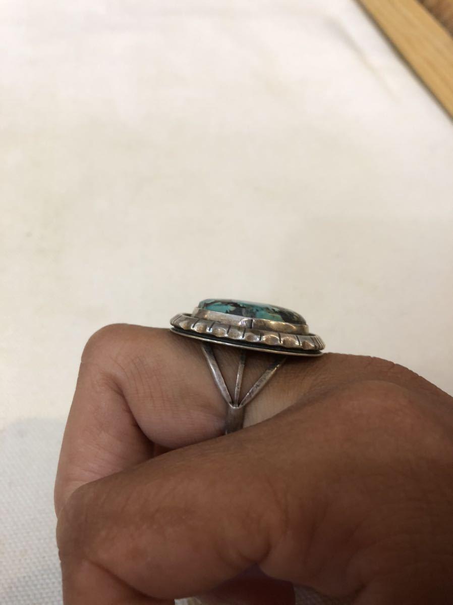 ビンテージ NAVAJO ナバホ ターコイズ スターリングシルバー リング 指輪 インディアンジュエリー USA アメリカ ズニ ホピ 先住民_画像7
