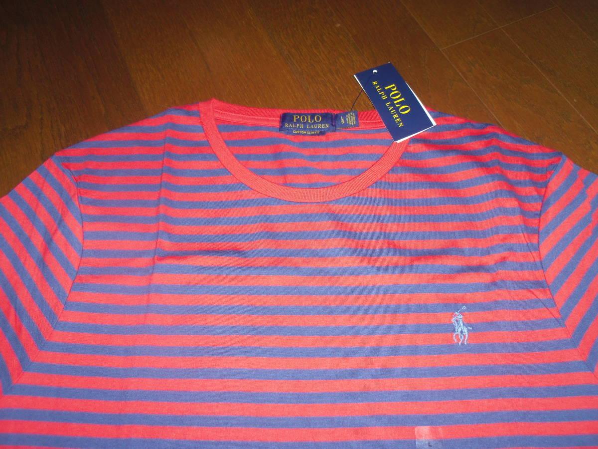 新品♪ラルフローレン≪RALPH LAUREN≫♪ 半袖クールネックコットンストライプTEEシャツ♪レッド&ネイビー♪サイズL~XL♪
