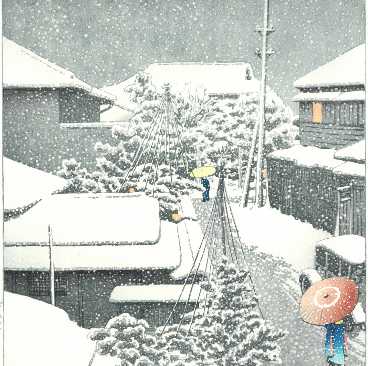 川瀬巴水 木版画  HKS-16 代地の雪  初版 1925年 大正14年2月 (新版画) 一流の摺師の技をご堪能下さい。_画像7
