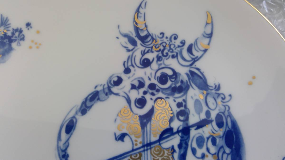 8 43106307002 1円スタート!! Meissen マイセン 干支プレート 2009 置物 ヴァイオリンを奏でる陽気な牛 ライオン 獅子 レオ インテリア_画像3