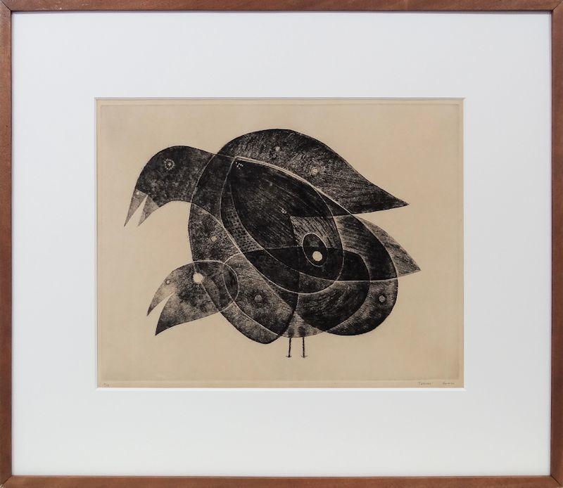 【fu】真作保証 駒井哲郎 アクアチント 「鳥二羽」 1960年作 希少限定13部 フィレンツェ美術アカデミー名誉会員 日本銅版画協会会員