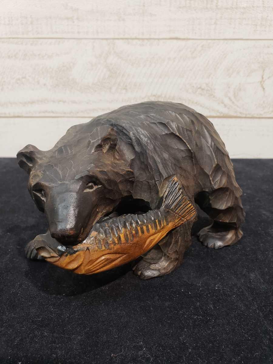 北海道 木彫りの熊 木彫 彫刻 民芸品 お土産 台座無し _画像1