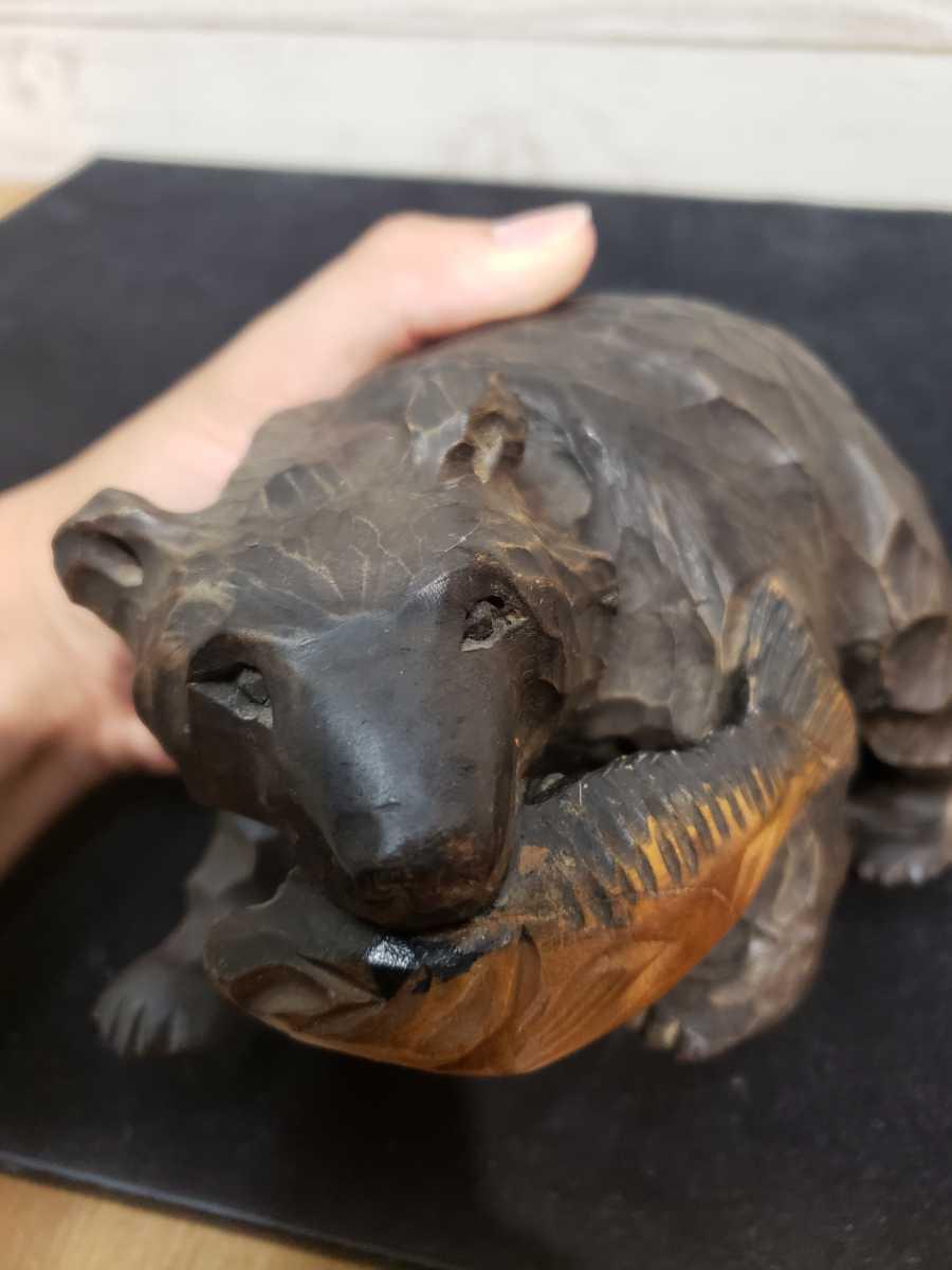北海道 木彫りの熊 木彫 彫刻 民芸品 お土産 台座無し _画像8