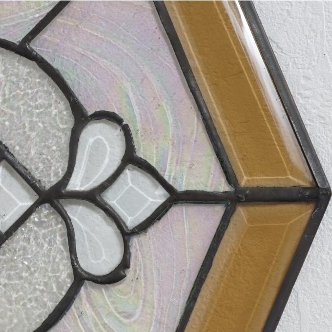 【USED品 】34.5cm×34.5cm ステンドグラス アンテーク アートパネル  _画像6