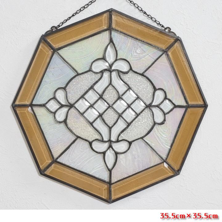 【USED品 】34.5cm×34.5cm ステンドグラス アンテーク アートパネル  _画像1