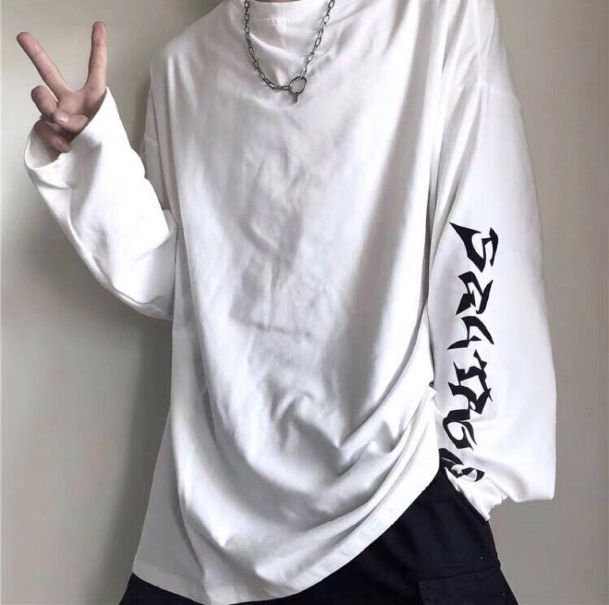 ロングスリーブTシャツ 男女兼用 英字ロゴ 白 1