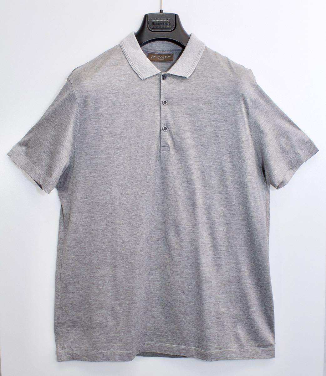 [未使用品] 定価約3万 ジムトンプソン 高級 シルクコットン ポロシャツ 半袖 JIM THOMPSON ドレス フォーマル 無地 グレー M