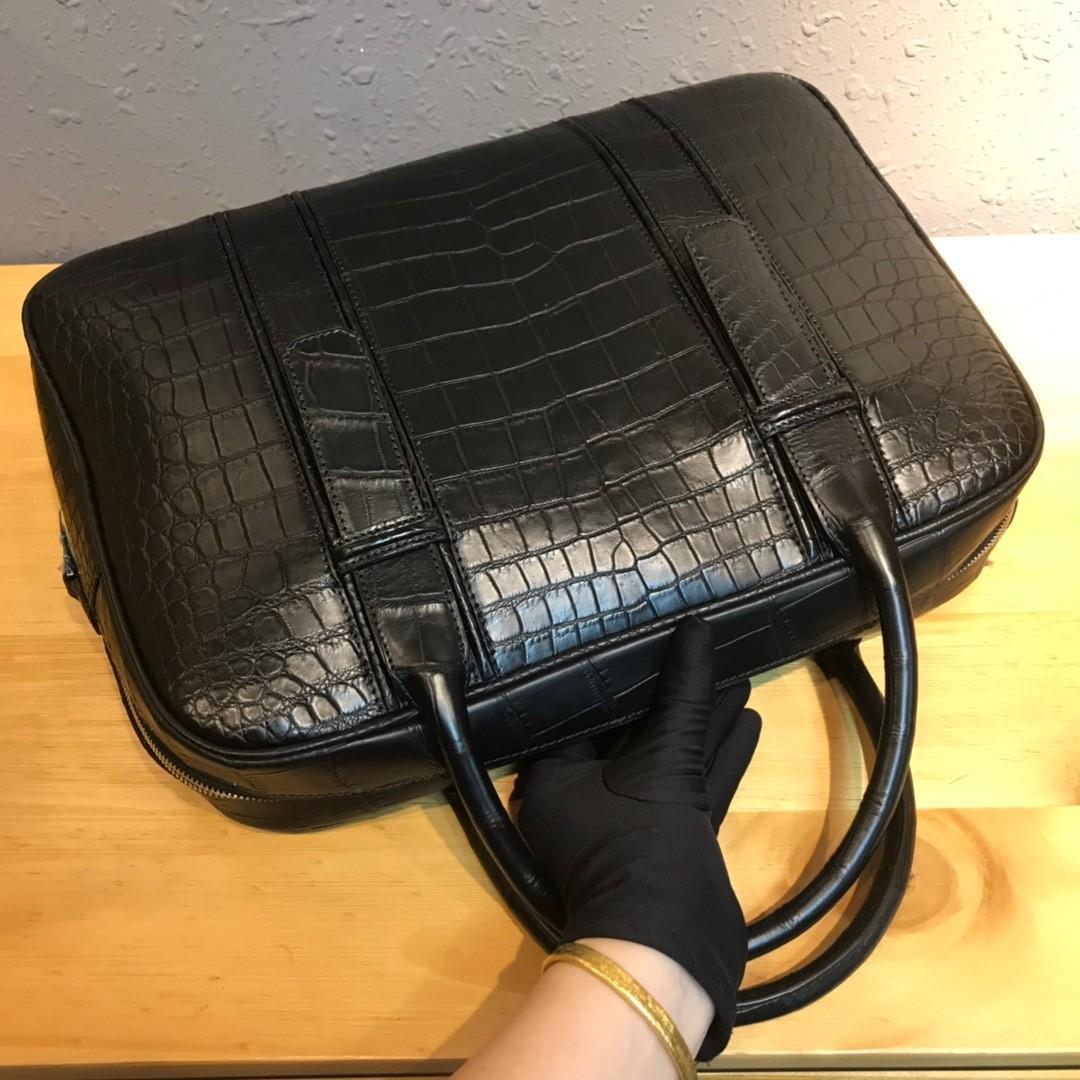 ワニ革 クロコダイルレザー 本革 2way ショルダーバッグ A4書類対応 旅行通勤 斜め掛けブリーフケース ビジネス ハンドバッグ 鞄 メンズ_画像2