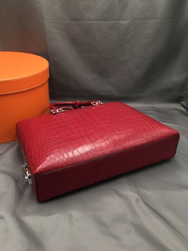 ワニ革 クロコダイル レザー 本革 メンズ 斜め掛け ショルダーバッグ ビジネス A4書類対応 ブリーフケース トート ハンドバッグ 鞄 通勤用_画像9