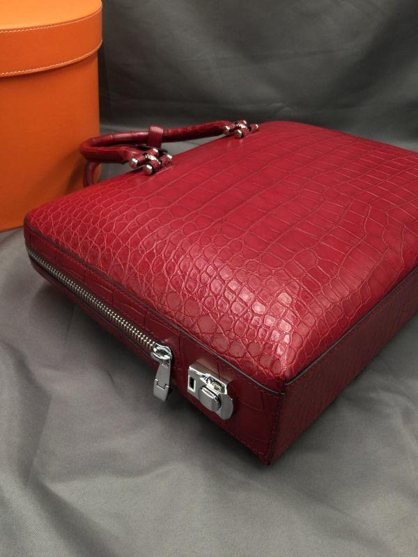 ワニ革 クロコダイル レザー 本革 メンズ 斜め掛け ショルダーバッグ ビジネス A4書類対応 ブリーフケース トート ハンドバッグ 鞄 通勤用_画像8