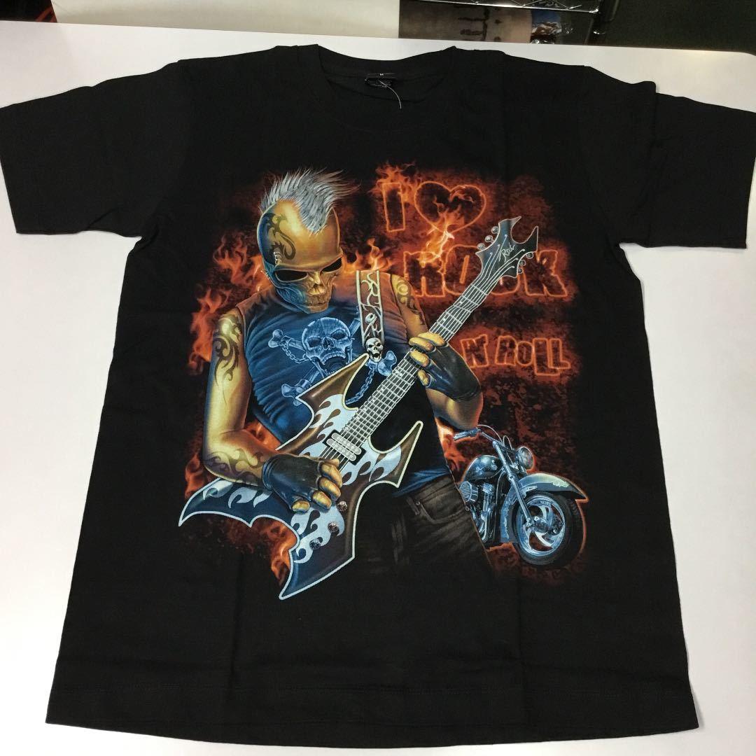 バンドデザインTシャツ Mサイズ アイラブロックンロール I LOVE ROCK N' ROLL ラヴ SR6A2