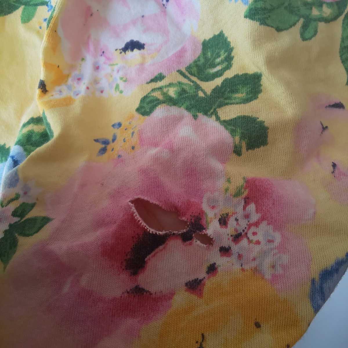 1円スタート! 140cm H&M ワンピース 黄色 花柄 キッズ 女の子コーデ 後ろ側破れあり リメイク 素材 生地 夏物 akichan7777jp_画像4
