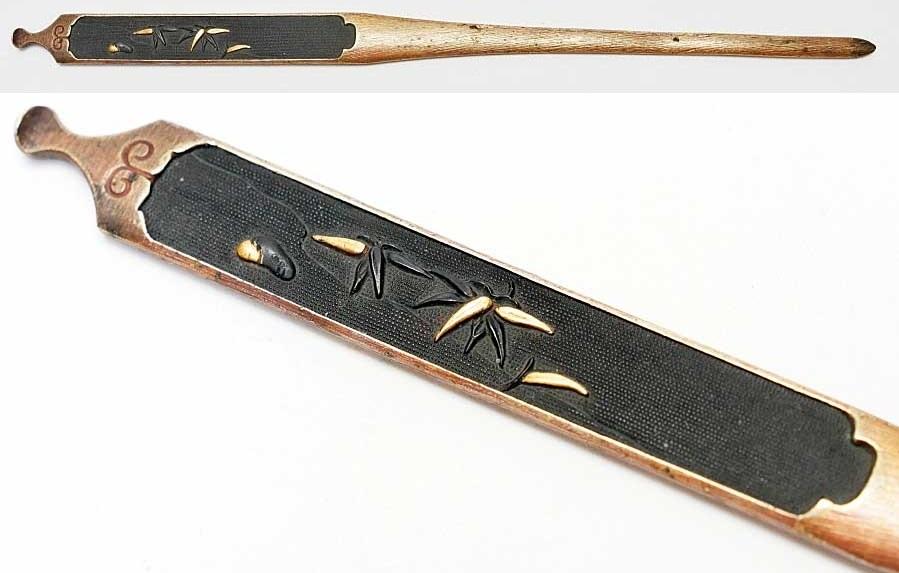 赤銅魚子地流水竹笹図笄   刀装具 太刀 拵 鍔 小柄笄_画像1
