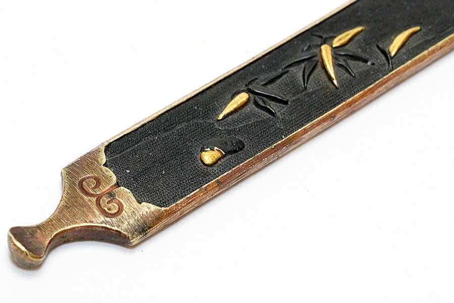 赤銅魚子地流水竹笹図笄   刀装具 太刀 拵 鍔 小柄笄_画像10