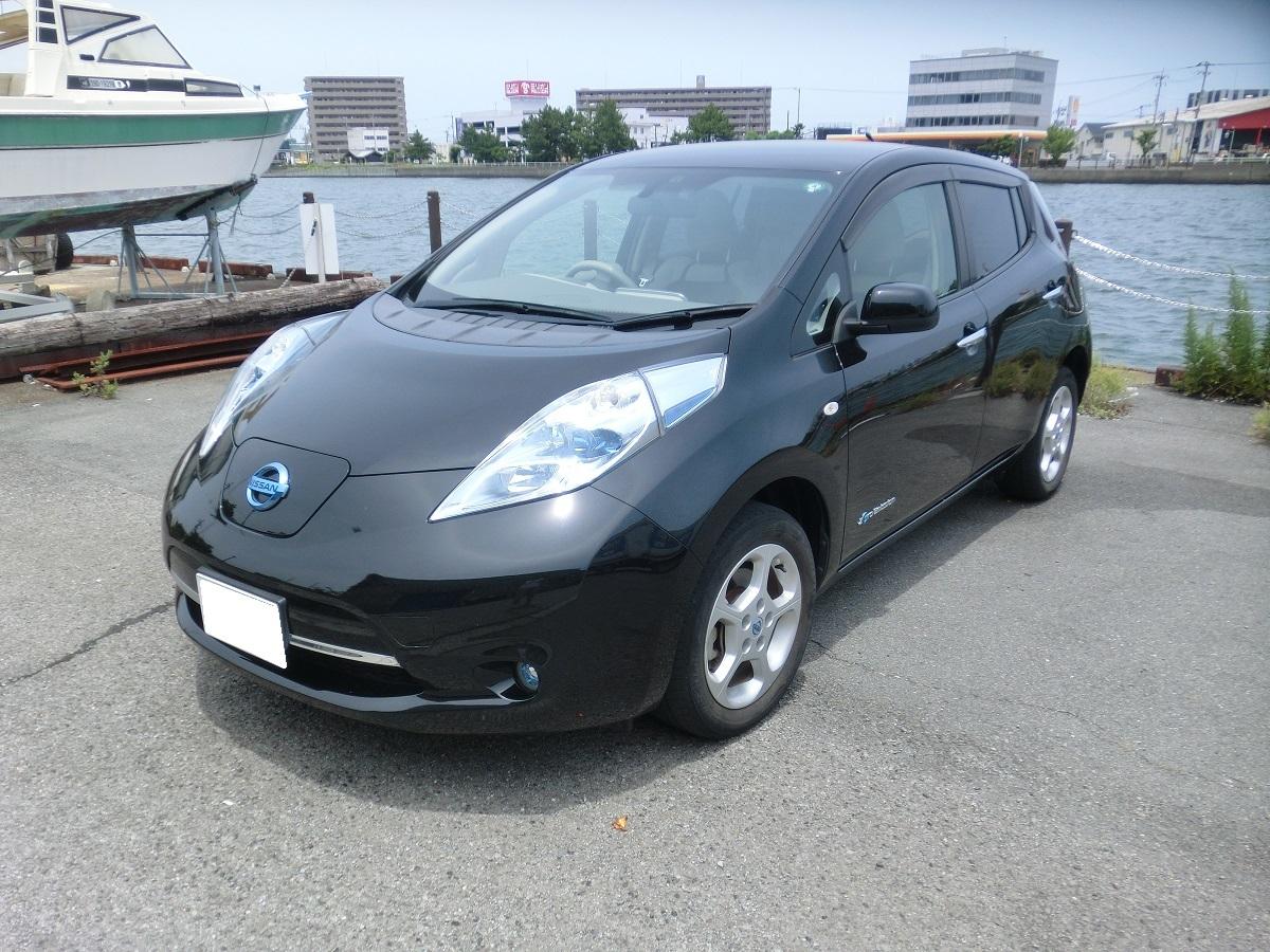 「H24 日産リーフ 黒 G 車検3年6月まで 200V充電コード 美車」の画像1
