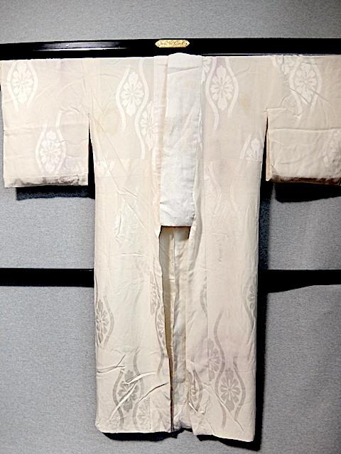 重②265)オフ袷長襦袢 身丈125 袖丈43 袖巾31 裄62 前巾22 後巾30_画像1