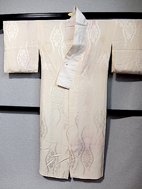 重②265)オフ袷長襦袢 身丈125 袖丈43 袖巾31 裄62 前巾22 後巾30_画像3