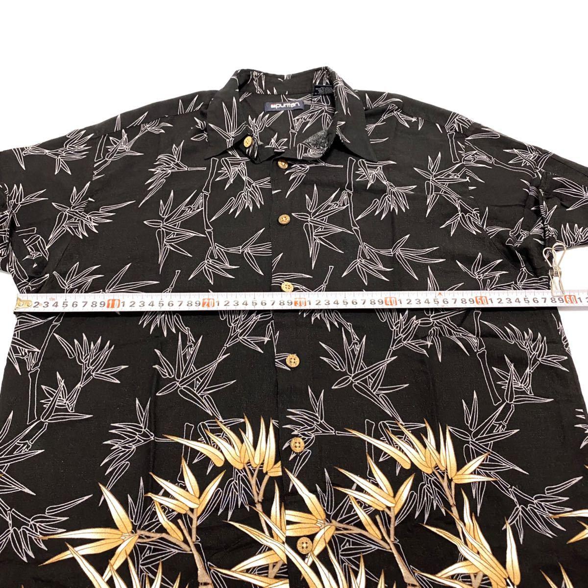 XL相当 ピューリタン 和柄 ブラック 黒 アロハシャツ メンズ 即決 柄シャツ アメリカ古着