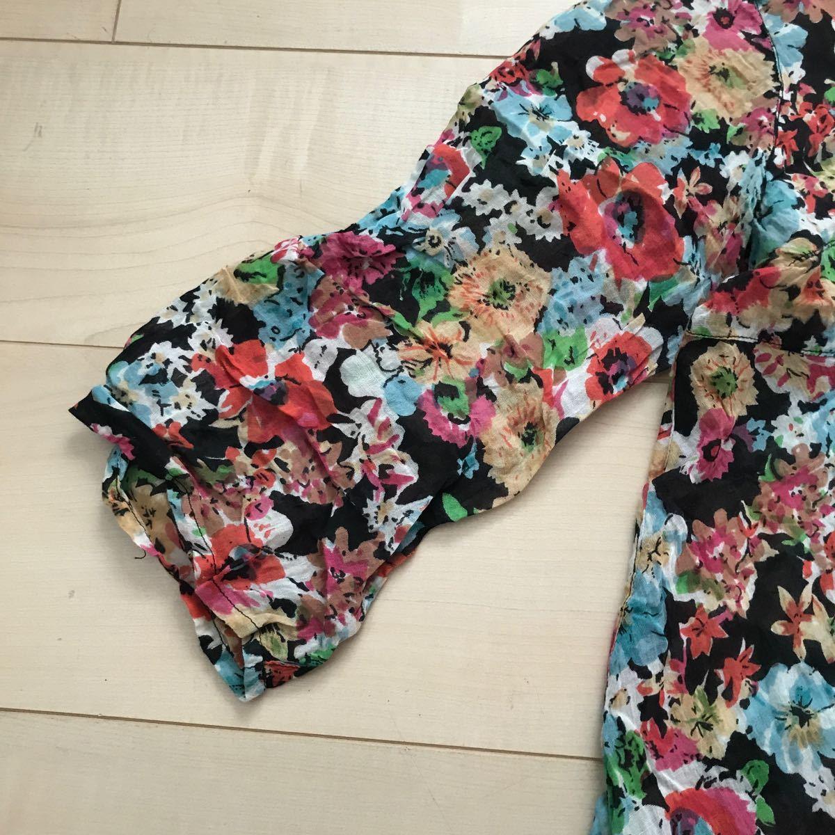 花柄チュニックブラウス M