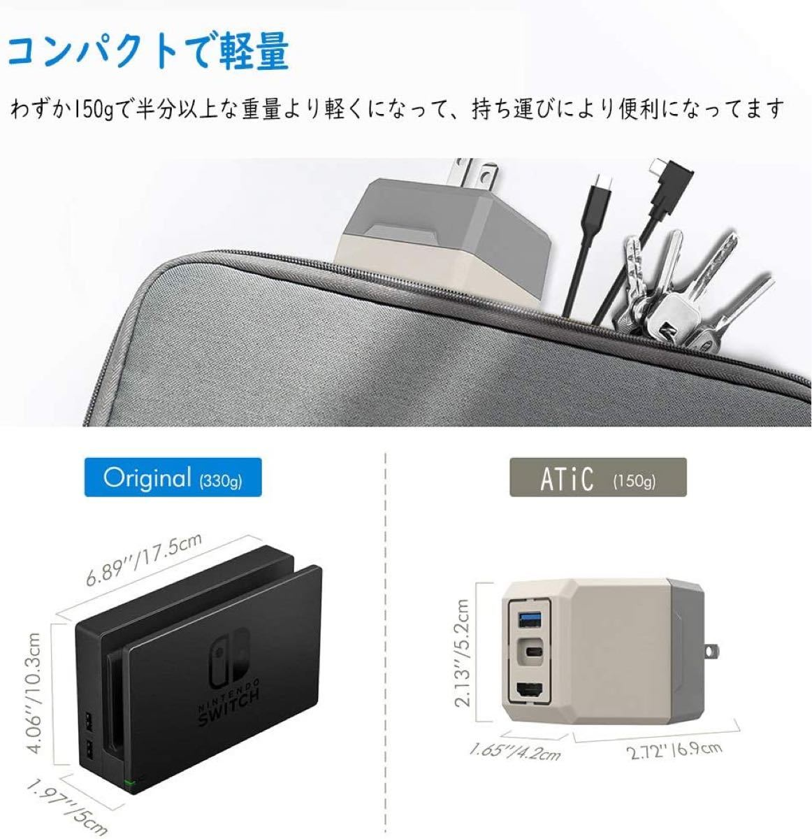 Switch用 持ち運びに便利2点セット 給電変換アダプター 卓上スタンド