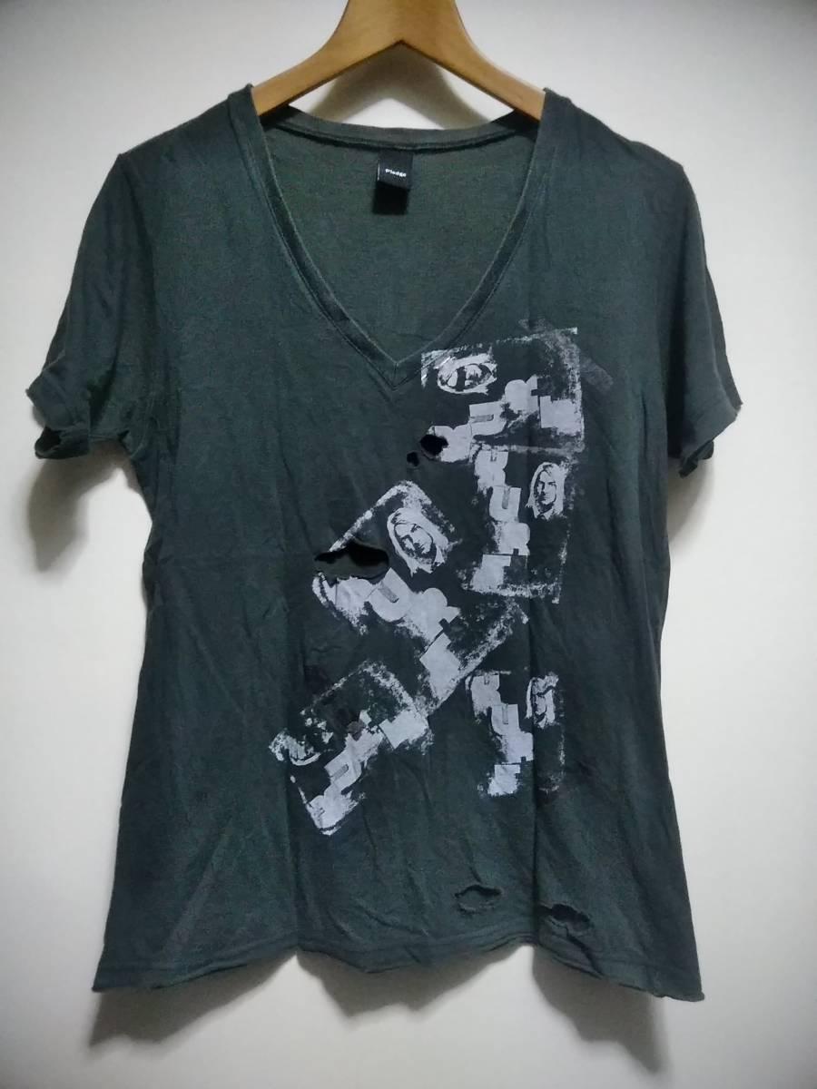 pledge Vネック Tシャツ 48 炭黒 ダメージ加工 穴あき加工 グランジ NIRVANA ニルヴァーナ カートコバーン プレッジ