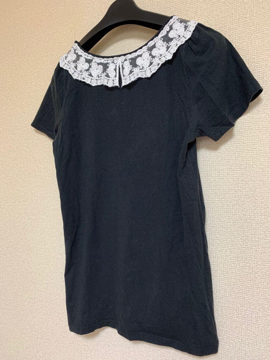 トップス Tシャツ カットソー 襟レース ブラック L  ローリーズ