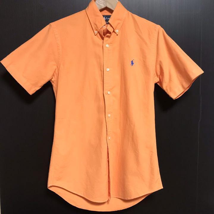 ラルフローレン 半袖シャツ XSサイズ メンズ タイト 夏 オレンジ アメカジ Ralph Lauren ボタンダウンシャツ