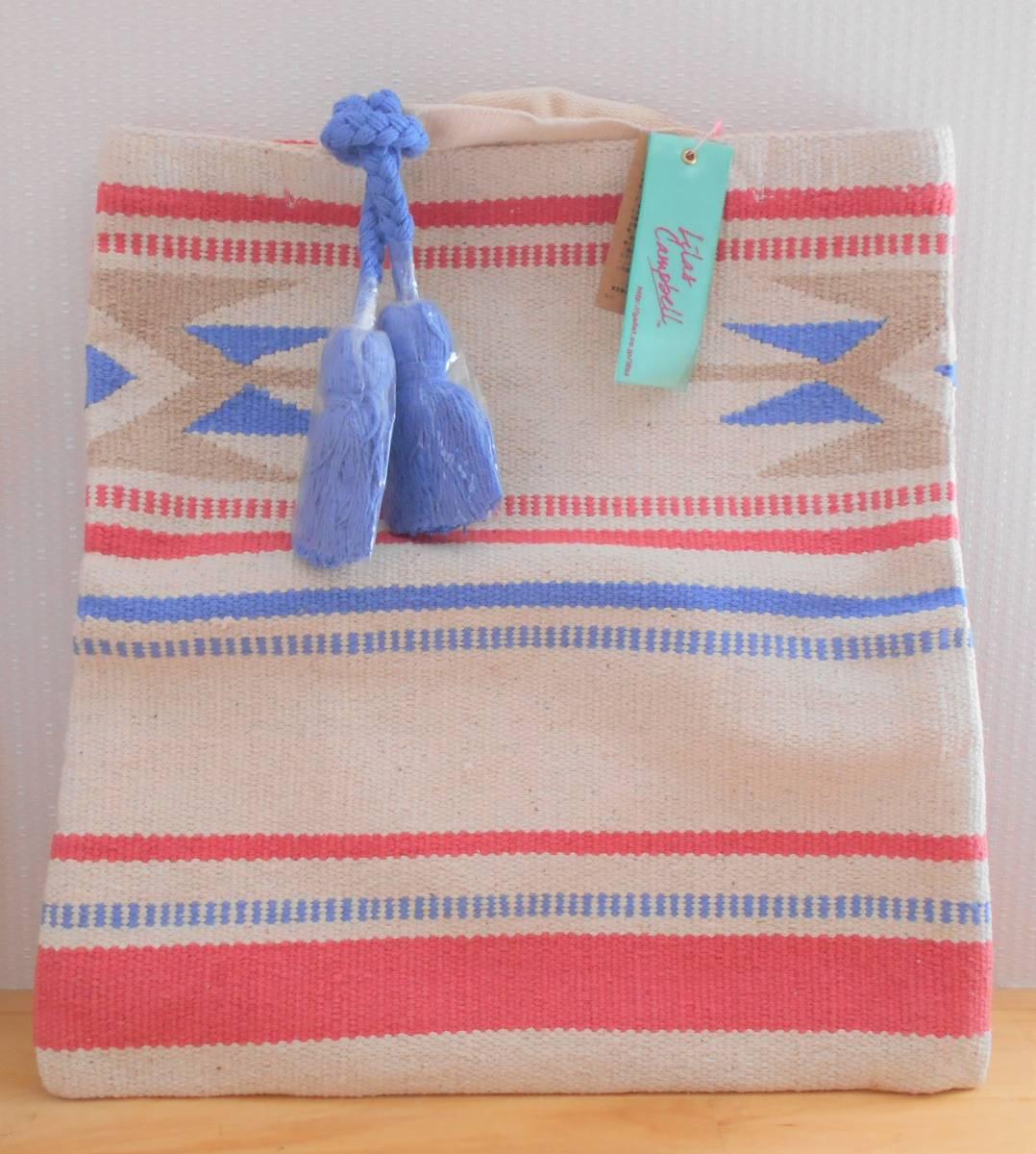 【新品】リラキャンベル バッグ 2way クラッチバッグ ブルー×レッド ハンドメイド Lilas Campbell