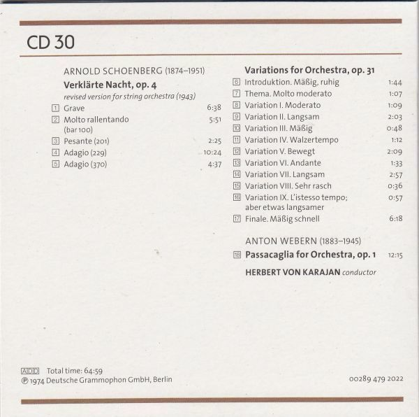 [CD/Dg]シェーンベルク:清められた夜Op.4&管弦楽のための変奏曲Op.31他/H.v.カラヤン&ベルリン・フィルハーモニー管弦楽団 1973-1974_画像2